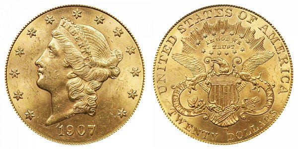 1907 D Liberty Head $20 Gold Double Eagle - Twenty Dollars