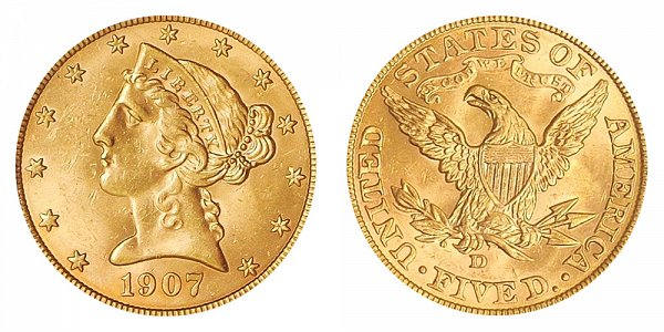 1907 D Liberty Head $5 Gold Half Eagle - Five Dollars