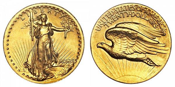 1907 High Relief Wire Rim - Saint Gaudens $20 Gold Double Eagle - Twenty Dollars