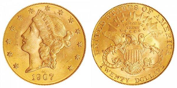 1907 Liberty Head $20 Gold Double Eagle - Twenty Dollars