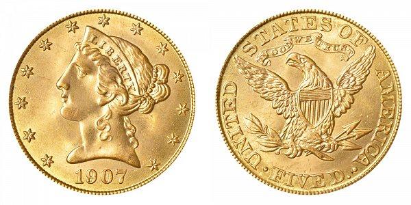 1907 Liberty Head $5 Gold Half Eagle - Five Dollars