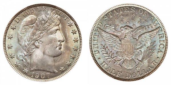 1907 O Barber Silver Half Dollar