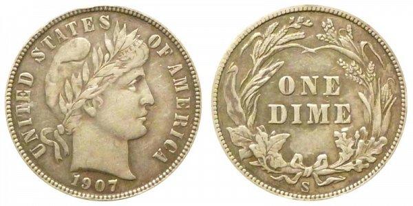 1907 S Silver Barber Dime