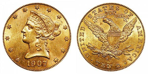 1907 S Liberty Head $10 Gold Eagle - Ten Dollars