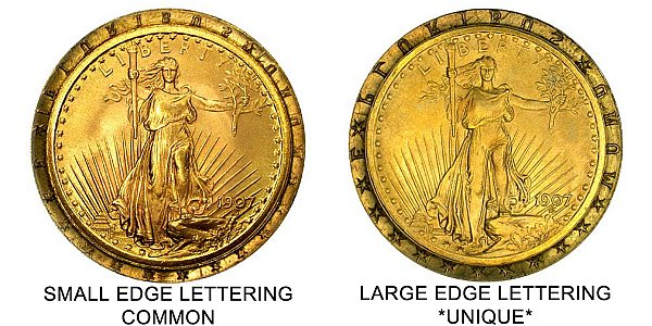 1907 Arabic Numerals Low Relief - Large Edge Lettering vs Small Edge Lettering - $20 Saint Gaudens Gold Double Eagle - Difference and Comparison