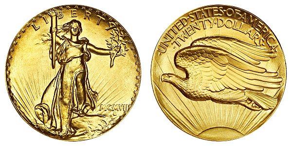 1907 Ultra High Relief -Plain Edge - Saint Gaudens $20 Gold Double Eagle - Twenty Dollars