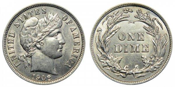 1908 Silver Barber Dime