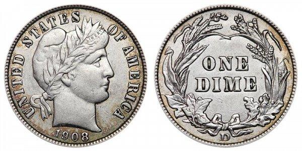 1908 D Silver Barber Dime