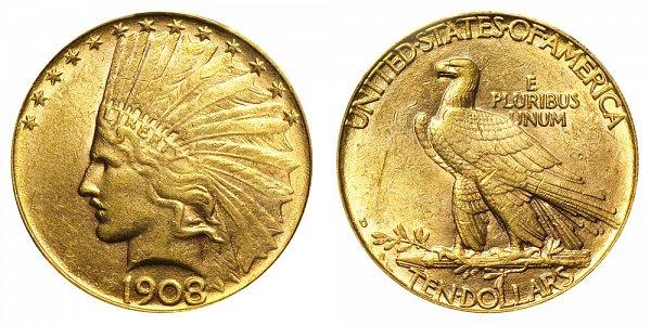 1908 D No Motto - Indian Head $10 Gold Eagle - Ten Dollars