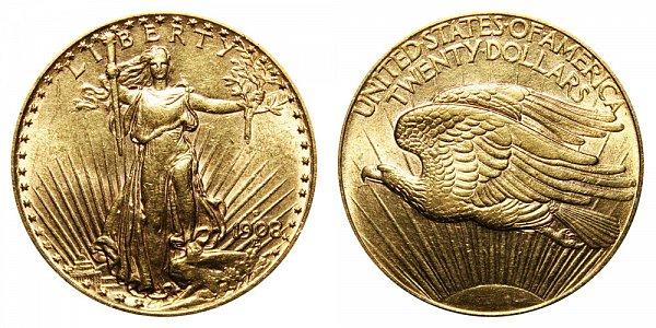 1908 D No Motto - Saint Gaudens $20 Gold Double Eagle - Twenty Dollars