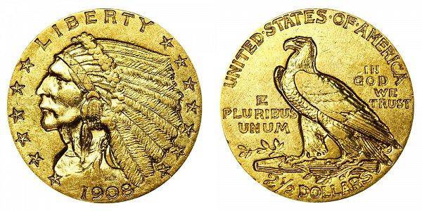 1908 Indian Head $2.50 Gold Quarter Eagle - 2 1/2 Dollars