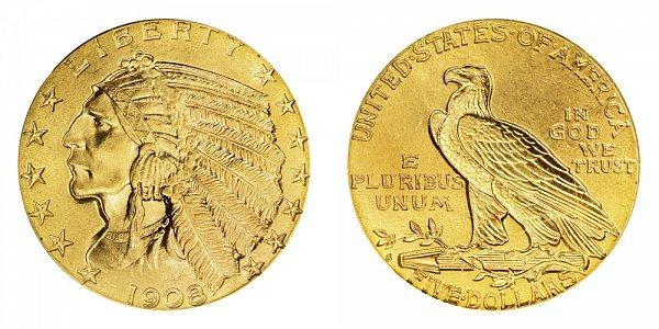 1908 S Indian Head $5 Gold Half Eagle - Five Dollars
