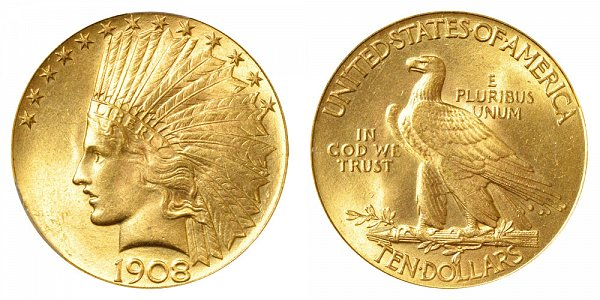 1908 With Motto - Indian Head $10 Gold Eagle - Ten Dollars