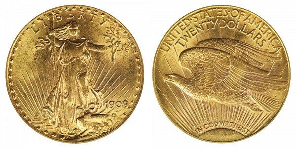 1909/8 Saint Gaudens $20 Gold Double Eagle - Twenty Dollars - 9 Over 8