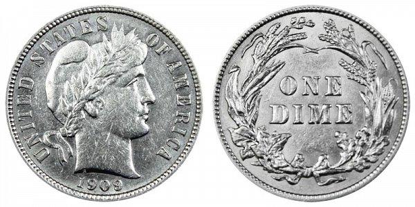 1909 Silver Barber Dime