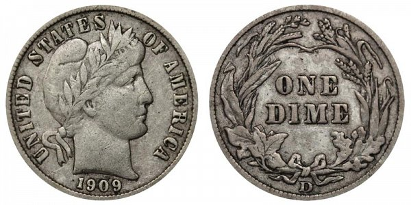 1909 D Silver Barber Dime