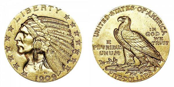 1909 D Indian Head $5 Gold Half Eagle - Five Dollars
