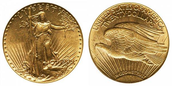 1909 D Saint Gaudens $20 Gold Double Eagle - Twenty Dollars