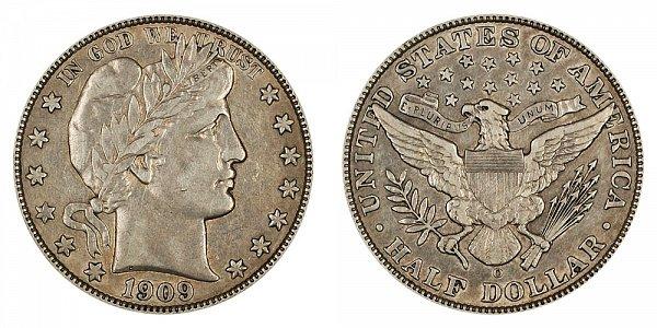 1909 O Barber Silver Half Dollar