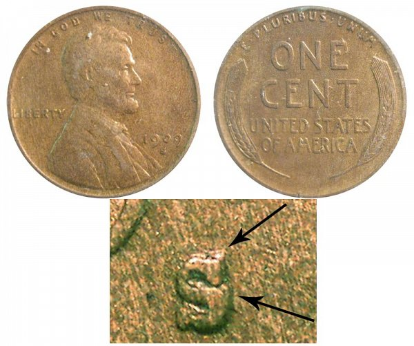 1909 S Over Horizontal S S/S Lincoln Wheat Cent Penny