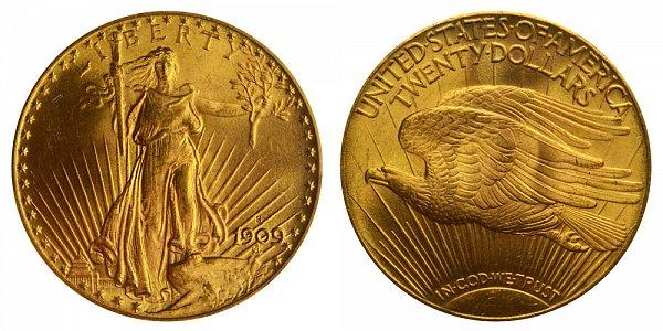 1909 S Saint Gaudens $20 Gold Double Eagle - Twenty Dollars