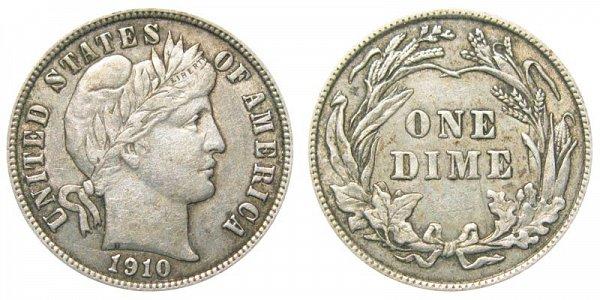1910 Silver Barber Dime