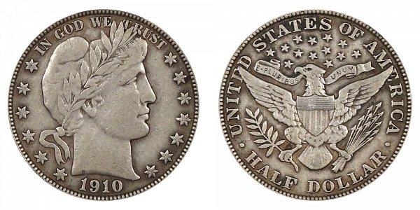 1910 Barber Silver Half Dollar
