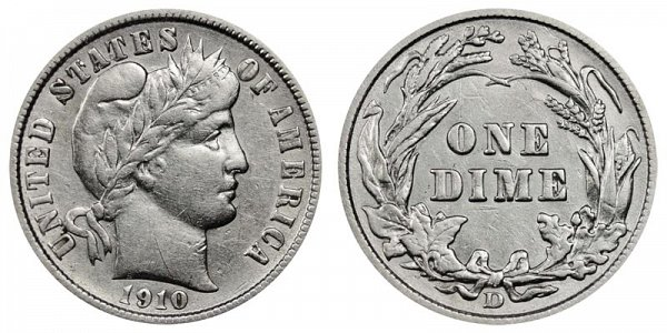 1910 D Silver Barber Dime