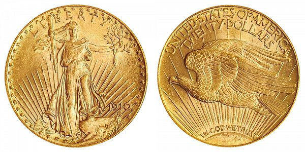 1910 D Saint Gaudens $20 Gold Double Eagle - Twenty Dollars