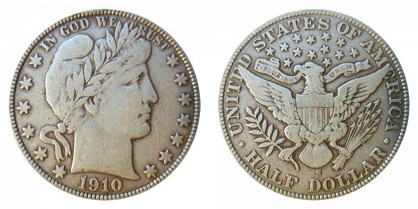 1910 S Barber Silver Half Dollar