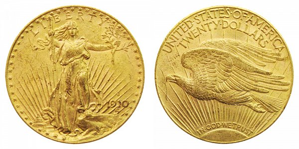1910 S Saint Gaudens $20 Gold Double Eagle - Twenty Dollars