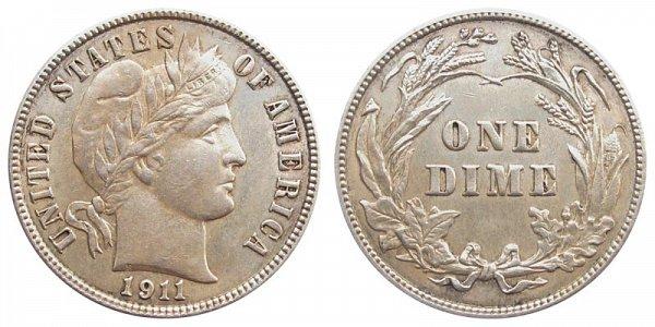 1911 Silver Barber Dime
