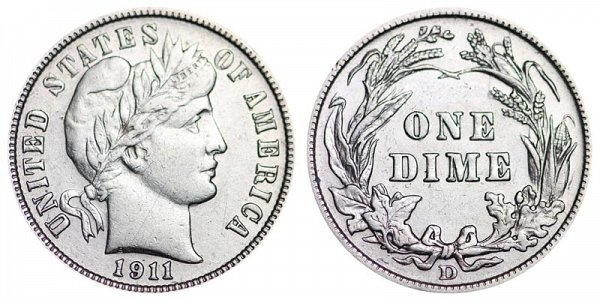 1911 D Silver Barber Dime