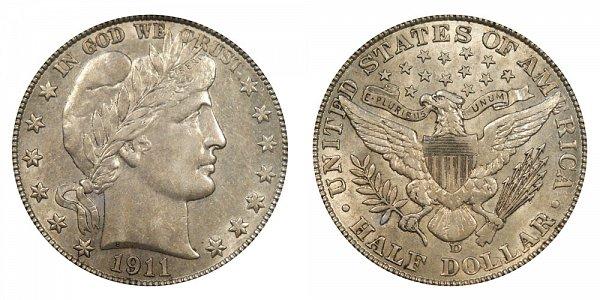 1911 D Barber Silver Half Dollar