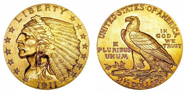 1911 D Indian Head $2.50 Gold Quarter Eagle - 2 1/2 Dollars