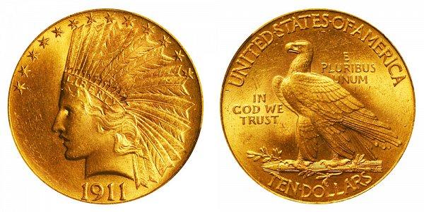 1911 Indian Head $10 Gold Eagle - Ten Dollars