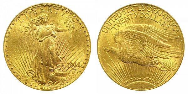 1911 Saint Gaudens $20 Gold Double Eagle - Twenty Dollars