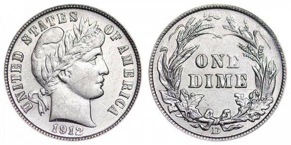 1912 D Silver Barber Dime