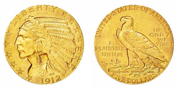 1912 Indian Head $5 Gold Half Eagle - Five Dollars