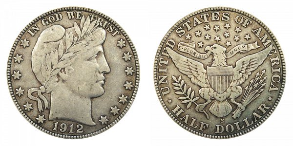 1912 S Barber Silver Half Dollar