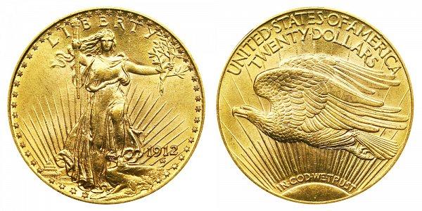 1912 Saint Gaudens $20 Gold Double Eagle - Twenty Dollars
