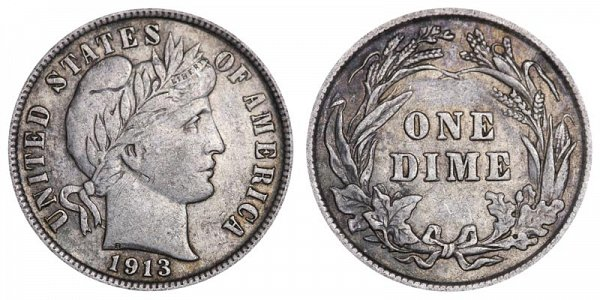 1913 Silver Barber Dime