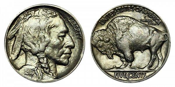 1913 D Line Type 2 Indian Head Buffalo Nickel