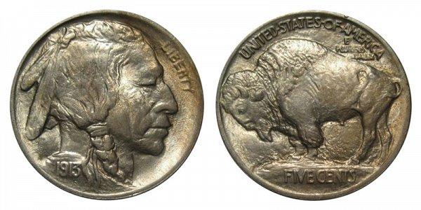 1913 Mound Type 1 Indian Head Buffalo Nickel