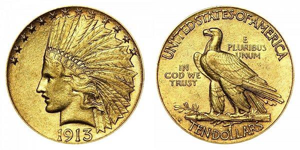 1913 S Indian Head $10 Gold Eagle - Ten Dollars
