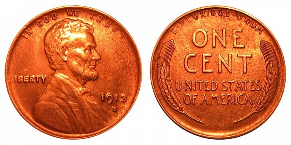 1913 S Lincoln Wheat Cent Penny