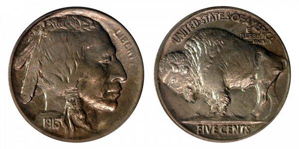 1913 S Line Type 2 Indian Head Buffalo Nickel