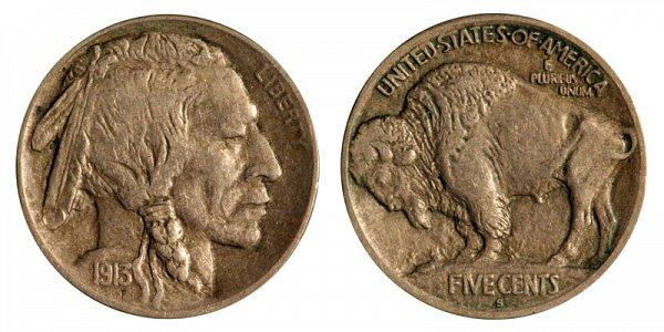 1913 S Mound Type 1 Indian Head Buffalo Nickel