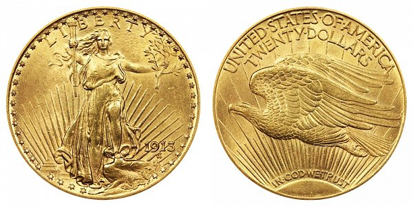 1913 Saint Gaudens $20 Gold Double Eagle - Twenty Dollars