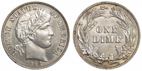 1914 Silver Barber Dime